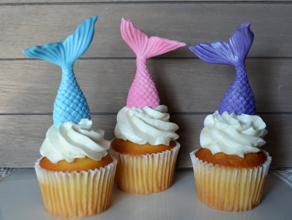 Mermaid cupcake topper fondant mermaid tail cupcake topper