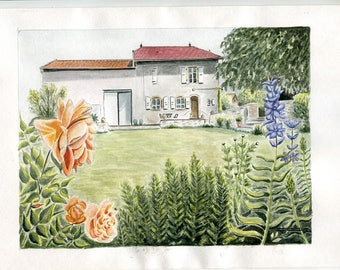 Limited number reproduction of my original watercolor: Portrait of home