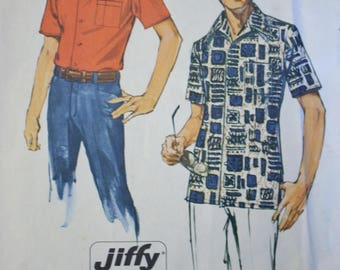 "Men's Shirt Pattern,  Vintage Sewing Pattern, Simplicity 6368, Neck 16-16.5"" Chest 42-44, UNCUT"