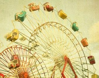 Nursery decor photography print circus art  Carnival art ferris wheel photo whimsical wall art by bomobob nursery decoration