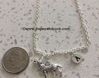 Wolf initial necklace, Howling Wolf jewelry, silver necklace, Werewolf necklace, Men's necklace, Wolf jewelry, Werewolf Jewelry