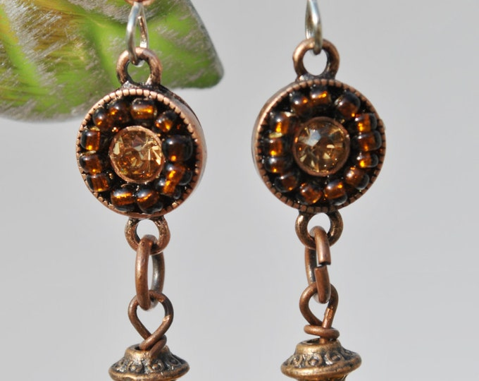 Autumn colors topaz and copper Earrings