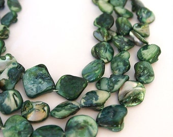 Strand Mother Of Pearl Nuggets Shell Beads Forest Green 16 inch strand Size Range 13-18mm Suit Earring, Necklace Or Bracelet