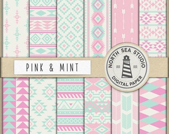 AZTEC PATTERNS, Mint And Pink Aztec Digital Paper, Aztec Backgrounds, Pink And Mint American Native Patterns, 12 JPG, 300dpi Files, BUY5FOR8