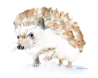 Watercolor Painting Hedgehog Giclee Print - 7 x 5 - Nursery Art