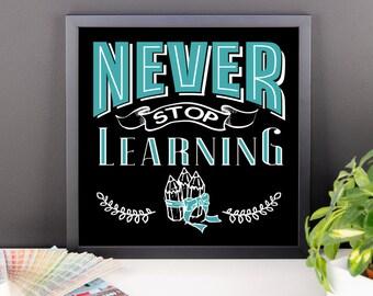 never stop learning Framed poster