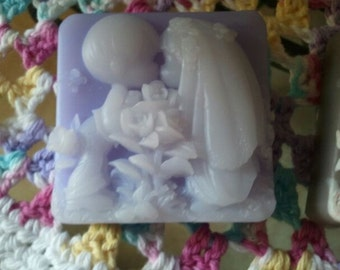 Kissing Couple Gift Soap ultra-rich Shea and Cocoa butter goats milk soap, 5.5 oz each