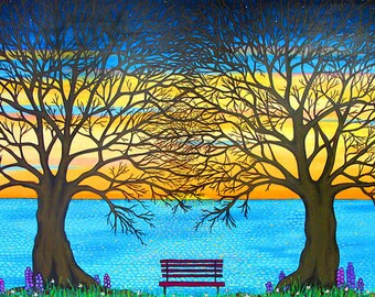 Trees of Life, trees , sunset, ocean print from painting by Shelagh Duffett