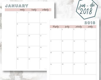 The 2 Page Calendar, Monday Start | January - December 2018 | Happy Planner Size | Printable Planner | Printable Calendar OG Style