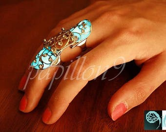 Double Finger Ring / GLOW in the DARK / Double Rings / Luminous Ring / Gothic Ring / Double finger rings /