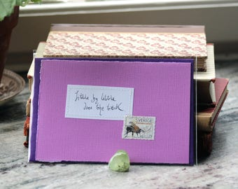 Little by little does the trick Pink lilac card with handwritten quote and Swedish bumblebee postal stamp
