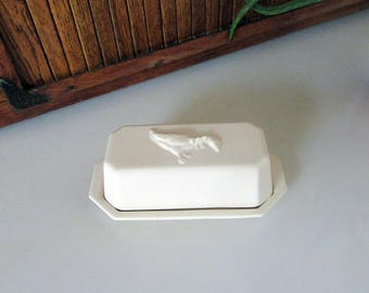 McCoy All White Country Goose Covered Quarter Pound Butter Dish - 2 Piece  - Country Accents Pattern by McCoy Pottery