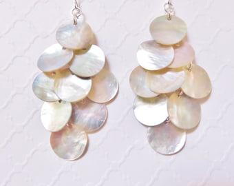 Long Shell Dangle Earrings, Natural Mussel Shell Earrings, Beach Jewelry, Beach Wedding Jewelry, Shell Chandelier Earrings, Bohemian Jewelry