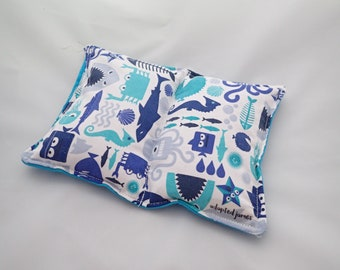 400g Blue Under The Sea Shark and Fish Weighted Lap Pad backed in Turquoise. Autism ADHD SPD sensory, for concentration or anxiety