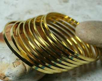Gold plated stacking bangle bracelet blank, small to medium, one piece (item ID GPB62)