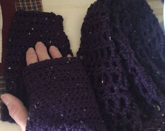 Hat scarf and fingerless mitten set