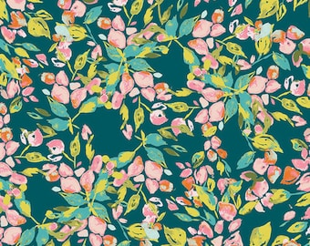KNIT, Bougainvillea Evergreen, Sage Collection, Bari J, Art Gallery Fabrics, Limited Edition, Stretchy Fabric, Jersey Knit