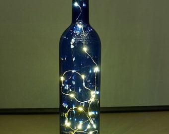 Blue Wine Bottle Battery Operated Light