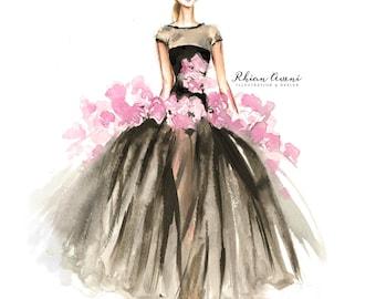 Custom Fashion Illustration - Watercolor Dress Audrey Style Blog Header Design Hand Drawn Sketch by Reani on Etsy