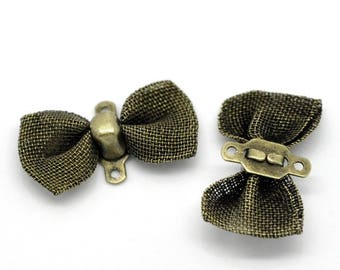 lot 5 bows in color bronze plated brass, 18 * 9 mm