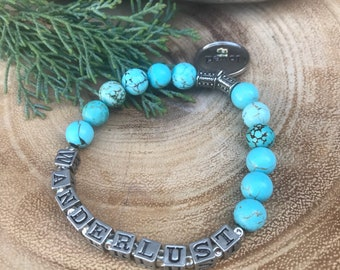 WANDER I MUST...Women's Pewter Silver and Turquoise Stretch Bracelet with Loved Charm