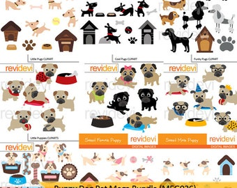 Puppy dog pet clipart big  bundle sale - puppies, pugs, dog house clip art - instant download, commercial use
