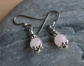 Hypoallergenic Niobium and Silver Pink Rose Quartz Earrings / Silver-plated Pewter Beads / Yoga Earrings /Tierracast Earwire / Stone of Love