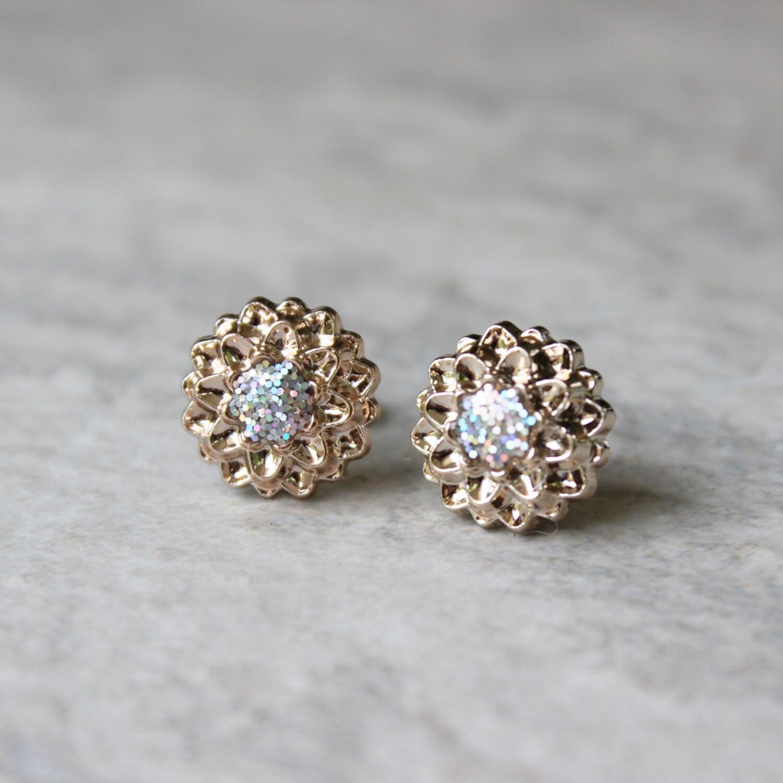Rose Gold Earrings Rose Gold Jewelry Iridescent Earrings Earring