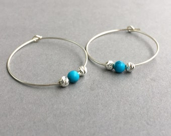 Sterling Silver Turquoise Earrings - Turquoise Earrings - Gemstone Earrings - Boho Earrings - Turquoise Jewelry - Silver Hoop - Earring Gift