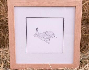 Hare Framed Original Line Drawing Illustration Print