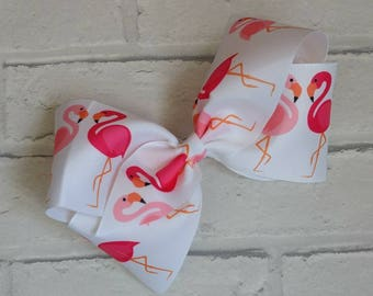 "Girls 8"" inch pink white flamingo boutique hair bow like JoJo Siwa Bows Signature keeper dance moms"