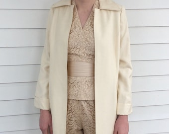 Ivory Long Coat Adele Simpson Vintage 70s S