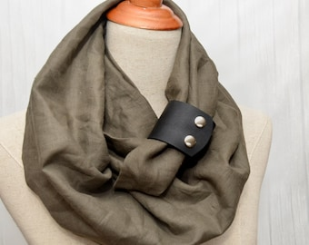 Linen Infinity Scarf. Chunky Scarf. Natural Linen. Olive. Black leather cuff.