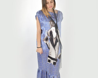 Blue Maxi Dress, Silk Dress, Plus Size Dress, Long Dress, Loose Dress, Summer Dress, Casual Dress, Designer Clothing, Oversized Women Dress