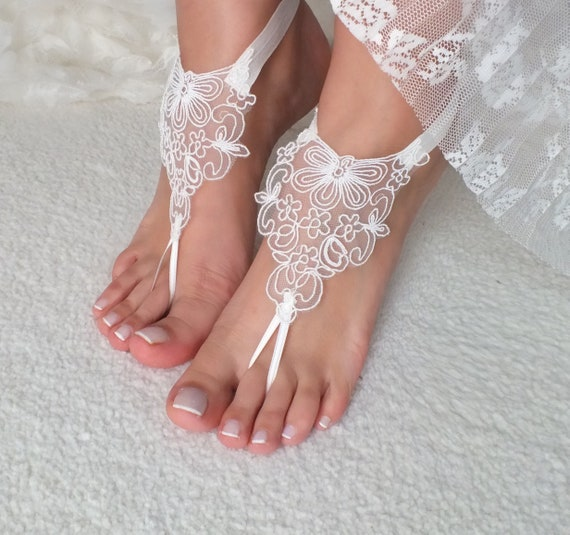 3237f36b202c ... bridesmaid bride barefoot anklets sandals prom bangle lace party Lace  Beach sandals ivory gift wedding wedding ...
