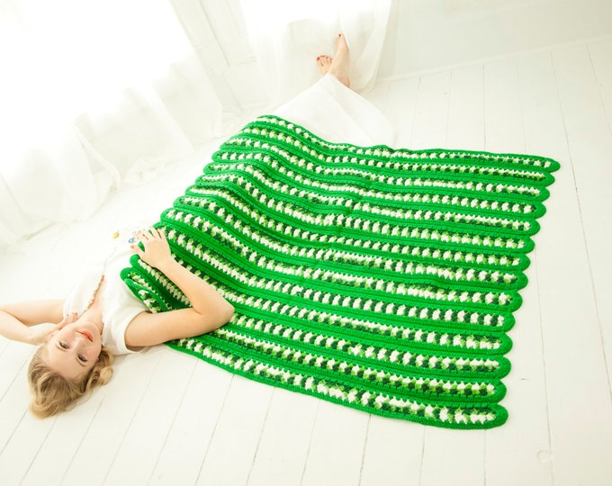 Vintage green striped afghan, small handmade crochet baby throw accent lap blanket, kelly white forest dark, 1970s retro home decor