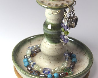 Jewelry Organizer - Earring Tower - Jewelry Bowl- Earring Bowl  in  Soft Matt Cream with Pearlescent Green  Ready to Ship