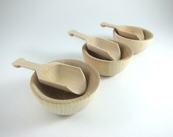 3 Wood Scoop and Bowl Sets - Unfinshed Wood Scoop - Party Favor, Candy Buffet, Waldorf-inspired Play