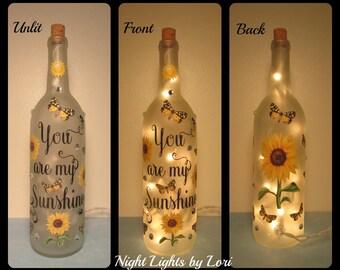You are my sunshine Wine Bottle Night Light/Sunflower/Decor/Lamp