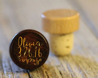 BEST PRICE ** Lot of Personalized Custom Wine Stopper, Laser Engraved Cork Bottle Topper, Reusable Rustic Wedding Favor --WS-dg-OliviaNathan