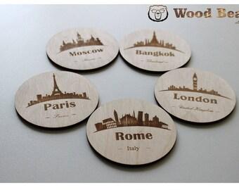 City Coasters Set, Set of 5 coasters, Travel coasters, Wooden coasters, Christmas gift, Laser Engraved, Paris, London, Rome, Bangkok, Moscow