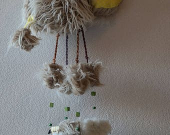 "Original, ""My little sheep"" mobile wall hanging, fur, unique birth gift"