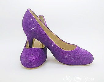 Bridesmaid Shoes ~ Cadbury Purple glitter low heels ~ Prom, Graduation, Party, Little Bridesmaid, Bridal wear, Bride, Mothers Day, Hen Night