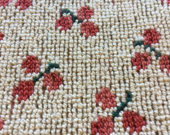 """Vintage Looped Picot Upholstery Fabric // 56x24"""" plus > red berries, green stems, on off-white > cherries, heavy, tapestry, cotton"""