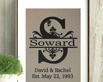 Custom Name Wedding Gift,Monogram with Last Name,Custom Gift for Bride and Groom,Est Date,Engagement,Anniversary,Wedding Decor,Bridal Shower
