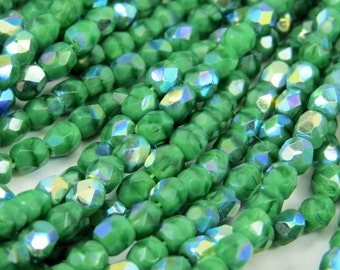 4MM Bright Green AB Beads Opaque Fire Polished Faceted Czech Glass 50 Beads PFP4MM009
