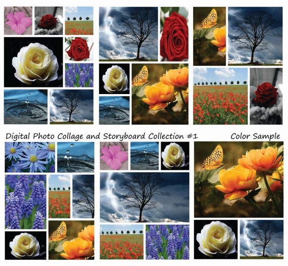 Instant Download  8.5x11 Storyboard Photographers Template 6 Different  Photoshop Digital Collage Templates Photo Blog Board Collection #1