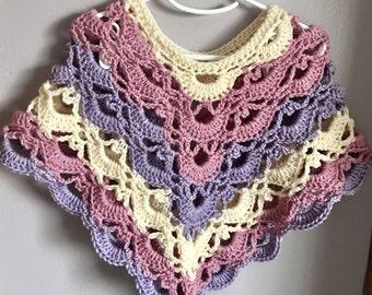 Crochet toddler girl poncho sweater