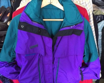 Vintage 90's Women's Ski Jacket Made By Columbia Size Small 2 In 1 Purple Teal