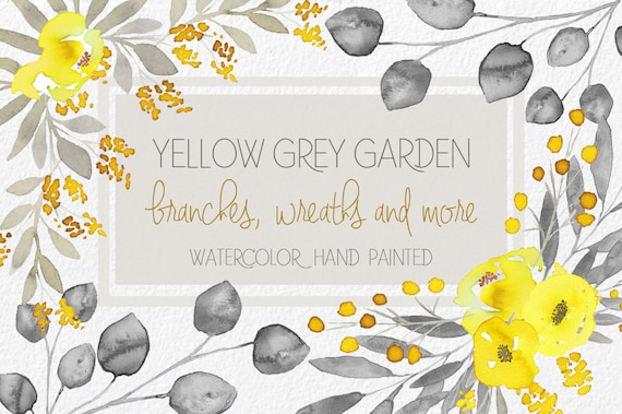 Watercolor yellow and grey flowers hand painted clip art mightylinksfo